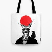 skull Tote Bags featuring SPLASH SKULL by Ali GULEC