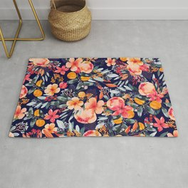 Navy Floral Rug