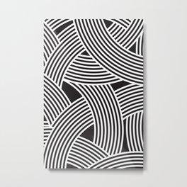 Modern Scandinavian B&W Black and White Curve Graphic Memphis Milan Inspired Metal Print