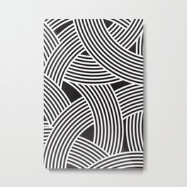 Modern Scandinavian B&W Black and White Curve Graphic Memphis Milan Inspired Metal Print