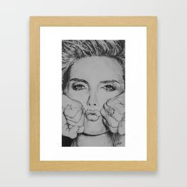 Heidi Klum Drawing Framed Art Print