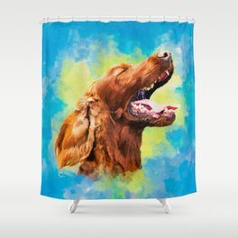 Irish Setter - happy dog Shower Curtain