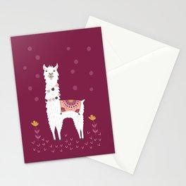 Llama on Burgundy Stationery Cards