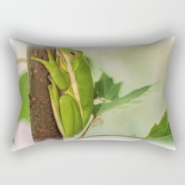Painted Green Tree Frog Rectangular Pillow