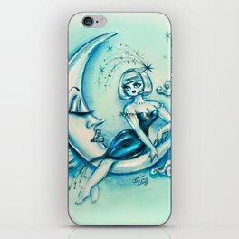 Girl on the Moon iPhone Skin