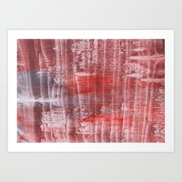 Striped red watercolor Art Print