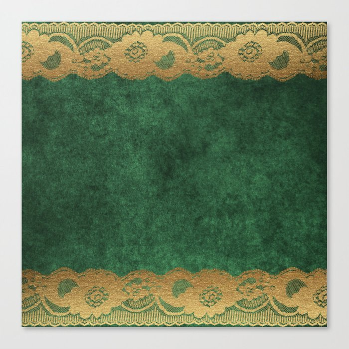 Green Lace Velvet 02 Canvas Print