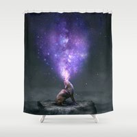 coyote Shower Curtains featuring All Things Share the Same Breath (Coyote Galaxy) by soaring anchor designs