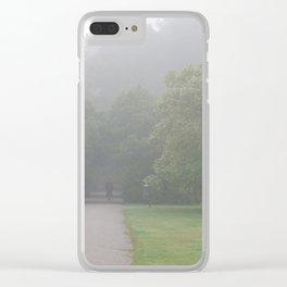 Gloomy autumn fog in park Clear iPhone Case