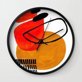Mid Century Modern Abstract Vintage Pop Art Space Age Pattern Orange Yellow Black Orbit Accent Wall Clock