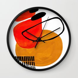 Mid Century Modern Abstract Vintage Pop Art Space Age Pattern Orange Yellow Black Orbit Accent Wall Clock