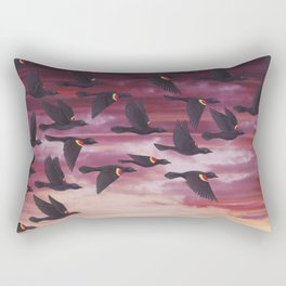 red-winged blackbird flock in flight Rectangular Pillow