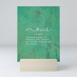 Moxie Definition - White on Green Texture Mini Art Print
