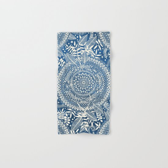 Diamond and Doodle Mandala On Blue Hand & Bath Towel