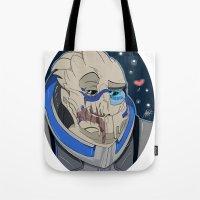 garrus Tote Bags featuring Garrus Vakarian by ArtisticCole