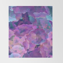 Purple, teal and blue abstract watercolor clouds Throw Blanket