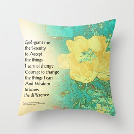 Serenity Prayer Peony Yellow Turquoise Throw Pillow
