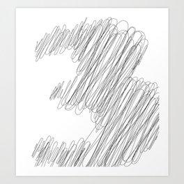 """ Cloud Collection "" - Minimal Number Three Print Art Print"