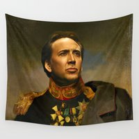 nicolas cage Wall Tapestries featuring Nicolas Cage - replaceface by replaceface