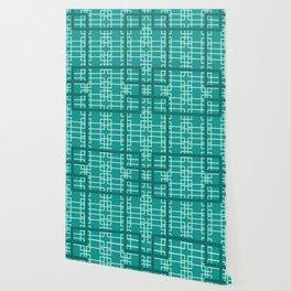 Midcentury Modern Geometric Turquoise Wallpaper