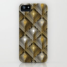 Art deco golden peacock feathers iPhone Case