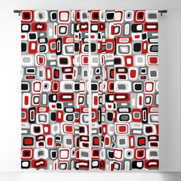 Mid Century Modern Squares and Rectangles // Red, Gray Black, White Blackout Curtain