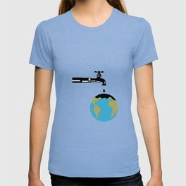 Faucet Dripping Water on Globe Retro T-shirt