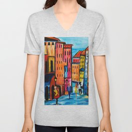 Afternoon Walk Downtown Unisex V-Neck