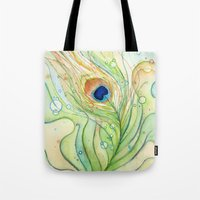 peacock feather Tote Bags featuring Peacock Feather by Olechka