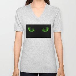 Two green cat eyes in the dark Unisex V-Neck