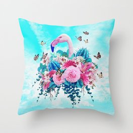 FLORAL FLAMINGO Throw Pillow