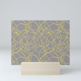 Abstract Hand Drawn Mosaic Pattern Pantone 2021 Color Of The Year Illuminating and Ultimate Gray Mini Art Print