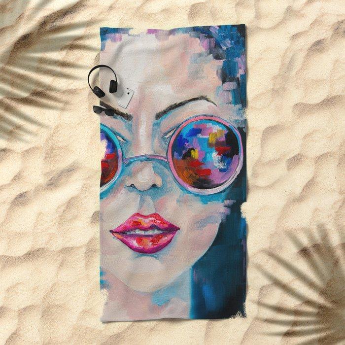 Girl in sunglasses Beach Towel