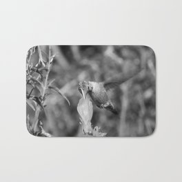 Hummingbird and the Flower- Black and White Bath Mat