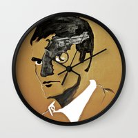 quentin tarantino Wall Clocks featuring Quentin by Gabby Grife | GuinArt
