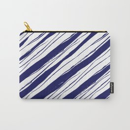 Navy blue on white rough diagonal stripes pattern Carry-All Pouch