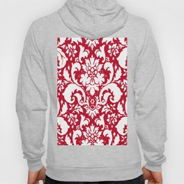 Paisley Damask Red and White Pattern Hoody