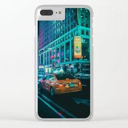 Taxi in the City (Color) Clear iPhone Case