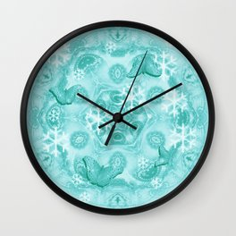 Butterflies and snow in blue Wall Clock