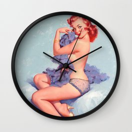 Pin Up Girl Roxane By Gil Elvgren Natural Redhead Wall Clock