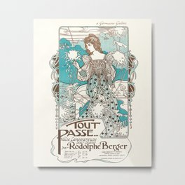 Tout Passe - Art Nouveau Print - Rodolphe Berger Composition - Vintage Waltz Sheet Music Cover Metal Print