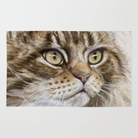 maine Area & Throw Rugs featuring Maine Coon  by S-Schukina