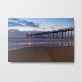 Lit Pier Metal Print
