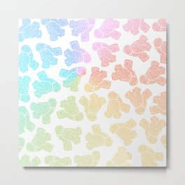 rainbow anatomical heart zendoodle pattern Metal Print