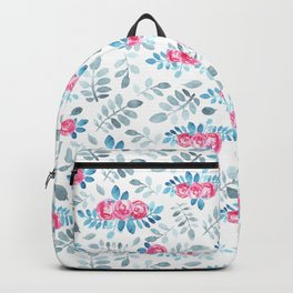 Romantic fuchsia blue gray watercolor hand painted roses Backpack