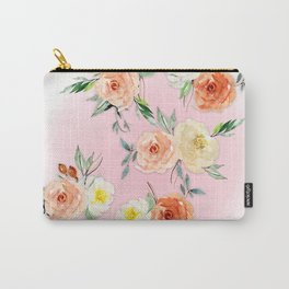 Rosy Watercolour Flower Bouquet Carry-All Pouch