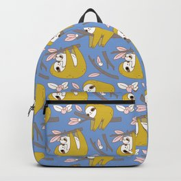 Sloth pattern in blue Backpack