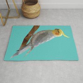 Yellow Cockatiel Bird Polygon Art Rug