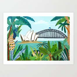 Sydney Harbour from the Botanical Gardens Art Print