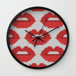 Lips pattern - white Wall Clock